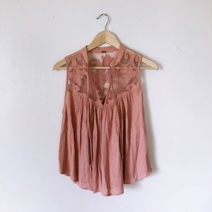 Free People Blush/Nude Swing Tank with Mesh Floral